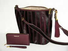 MICHAEL KORS Trendy BROOKLYN 3D APPLIQUE PLUM LG FEED BAG and WALLET NWT $766