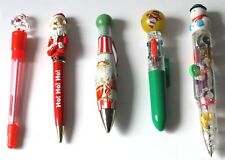 Lot of 5 – COLLECTABLE PENs – SANTA CLAUS (4) & SNOWMAN (1) – Christmas - Gift