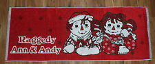 "NEW RARE Raggedy Ann & Andy Rug 44"" x 16 1/2""  RED Heavy Terry Cloth Skid dots"