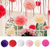 5pcs Fleur Pompon En Papier Boule De Fleurs De Soie De Mariage Party Décoration