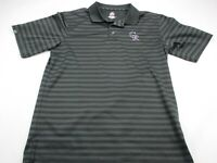 MLB Colorado Rockies Black Polo Shirt Embroidery Genuine Adult Large Majestic