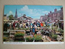 Postcard - FLOWER STALLS IN DARLINGTON MARKET. Unused. Standard size.