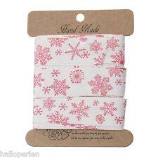 Cotton Sewing Ribbon DIY Craft Red Christmas Snowflake Pattern 20mm 5M