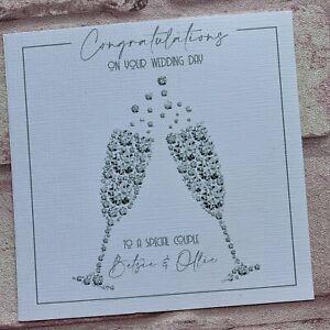 PERSONALISED Handmade  WEDDING DAY ENGAGEMENT ANNIVERSARY CARD Diamond Glasses
