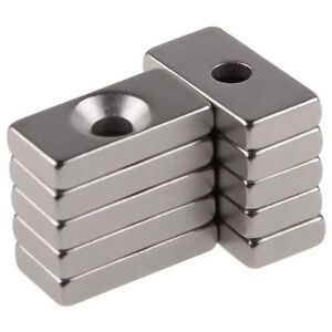 New 10pcs Super Strong Block Magnets 20x10x4mm Hole 4mm Rare Earth Neodymium N35