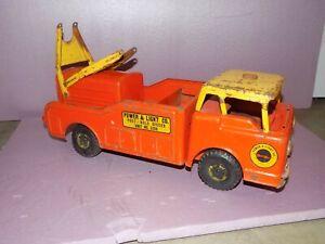Vintage Nylint Orange Power & Light Company Post & Hole Digger Metal Toy Truck