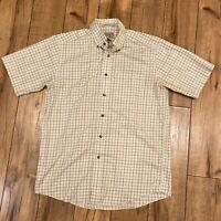 LL Bean Wrinkle Resistant twill plaid mens short sleeve windowpane shirt