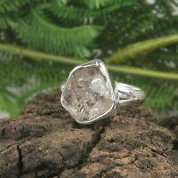 Raw Stone Herkimer Diamond Ring 925 Sterling Silver Statement Ring Jewelry