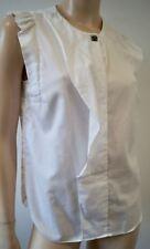 SANDRO blanc 100% coton col rond sans manches plissée Chemisier Shirt Top Sz:2; M