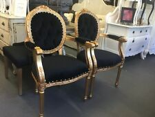 DINING FRENCH PROVINCIAL LOUIS XV CHAIRS ARM CHAIR BEDROOM BLACK FRAME GOLDEN