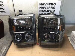 2008-2010 Ford F250 F350 F450 F550 SD LED DRL Halogen Headlight Pair #H389