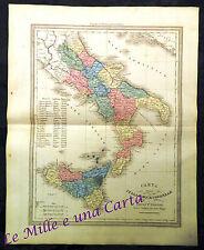 BELLA MAPPA _ CARTA DELL'ITALIA MERIDIONALE _ GIO-BATT. MAGGI _ provincie _ 1865