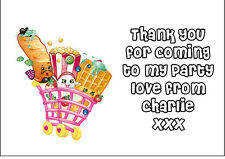 Personalised Kids Shopkins Party Thank You Stickers - Pack Of 24 64 x 33.9 mm