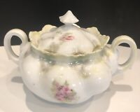 Antique RS Prussia Porcelain Roses Decorated Covered Large Sugar Bowl