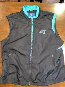 NFL Reebok Carolina Panthers Fleece Lined Full Zip Vest pocketed Size XL