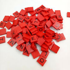 100pcs Wooden Scrabble Tiles Black Letters Numbers for Crafts Wood Alphabts Red