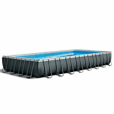 Intex Ultra Xtr Rectangular Above Ground Frame Swimming Pool Set w/ Pump, Gray