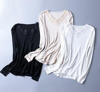 New Women's Silk Knit Lace T-Shirt Long Sleeve undershirt Classical top b55