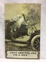 Vintage Embossed Postcard Unused Newborn Stork Greeting I'm It's A Boy