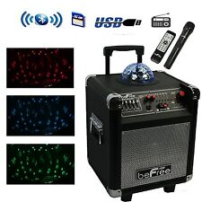 """BEFREE 6.5"""" BLUETOOTH PA SYSTEM USB SD MP3 PLAYER w/ MIC MICROPHONE PARTY LIGHT"""