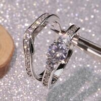 Chic 925 Silver White Sapphire Birthstone Bride Ring Set Engagement Jewelry Gift