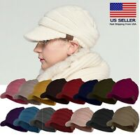 CC Beanie Visor Womens Knit Slouchy Oversized Thick Cap Hat Unisex Slouch Color