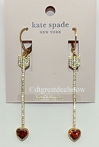 NEW Kate Spade Romantic Rocks Paved Heart and Arrow Linear Earrings O0RU3136
