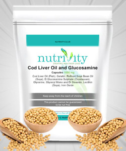 Cod Liver Oil + Glucosamine 1000mg Capsules for Joint Health Nutrivity UK