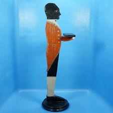 """36"""" Antique Wood Carved Black Man Butler-Shape VISIT CARD HOLDER c1920 Advertise"""
