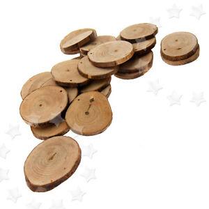 24pcs Wooden Wood Log Slices Discs Natural Tree Bark Table Decorative Wedding