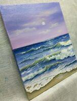 """Art10,""""/8""""oil painting,sunset, seascape, landscape, VARNISHED, wood frame canvas"""