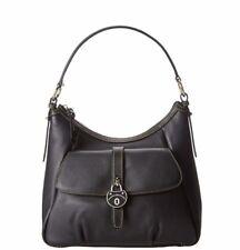 "Dooney & Bourke Samba Black leather Hobo Pocket Purse Shoulder Zip top 14"" L New"