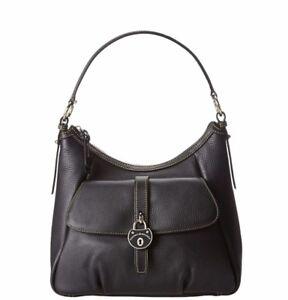 "Dooney & Bourke Samba Black leather Hobo Pocket Purse Shoulder Zip top 14"" New"