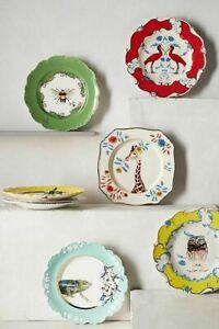 Anthropologie Lou Rota Table OWL,SCARLET , CHAMELION, BEE SET OF 4 Dessert Plate