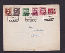 SPAIN CIVIL WAR Cubierta 1937 local usado con Málaga liberada o/PS sellos