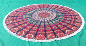 Blue Base Ruby Green Round Mandala Beach Towel Throw Tapestry Table Cover Throw