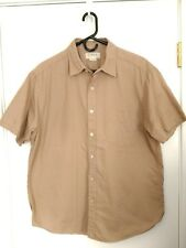 MEN'S LARGE J. CREW KHAKI/BEIGE BUTTON UP CROSSHATCH WOVEN SHORT SLEEVE SHIRT