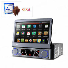 "Premium 1 DIN 7"" Flip Out Touch Android 4.4 Quad Core Car DVD Stereo Radio OBD2"