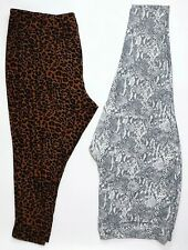 Terra & Sky Women's Plus 4X 28W-30W Lot Of 2 Leopard Snakeskin Stretchy Leggings