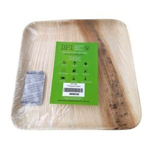 "Areca Palm Leaf Plates - Square 9"" Plate 12 Pack"