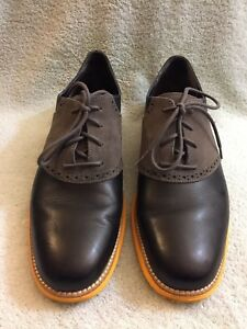 Cole Haan C11243 Lunargrand Mens Learher Suede Oxfords Grey Black Orange Sz 11 M