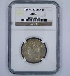 1936 VENEZUELA 2 BOLIVARES COIN - AU 58 - NGC