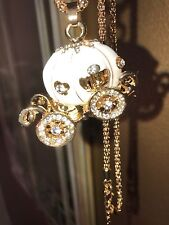 Betsey Johnson Necklace White CINDERELLA Princess Pumpkin Carriage Gold White