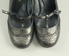 Restricted Shoes Women's Heels Silver Metallic Mary Janes Leather Pizazz Sz 7.5