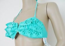 Nwt California Waves Bandeau Ruffled Swimsuit Bikini Top Sz M Medium Mint $28
