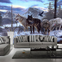 3D Self-adhesive Living Room Wallpaper Painting Animal Wolf Totem Wall Mural