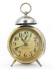 """ANTIQUE JUNGHAN'S GERMAN """"REPETITION"""" BELL-TOP BRASS ALARM CLOCK, WORKING WELL"""