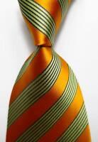 New Classic Gold Orange Black Striped JACQUARD WOVEN 100% Silk Men's Tie Necktie