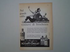 advertising Pubblicità 1961 ROGER & GALLET JEAN MARIE FARINA