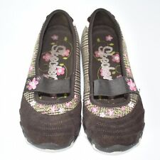Skecher's Girls Brown Suede Embroidered Floral Slip On Shoes Size (1)